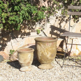 Small French Urns, Antiqued Ceramic