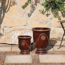 Small French Urns, Dark Brown Ceramic