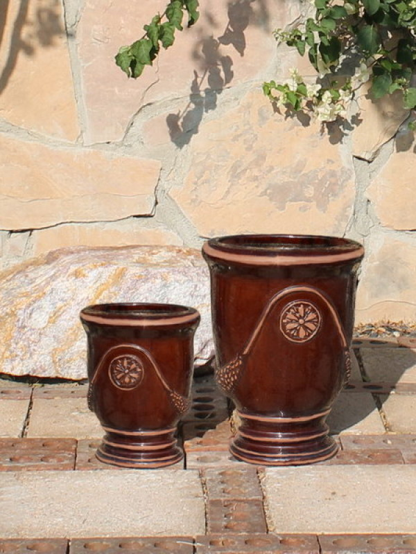 Small French Urns, Dark Brown Ceramic