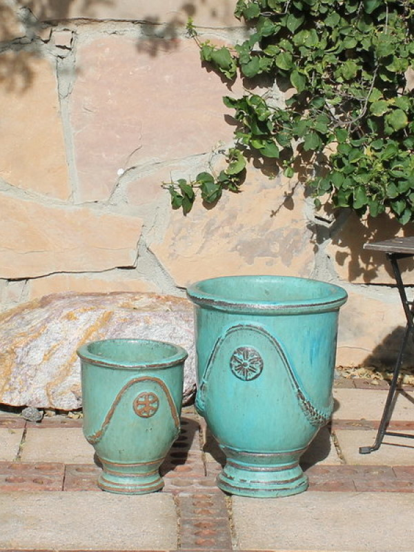 Small French Urns, Aqua Ceramic