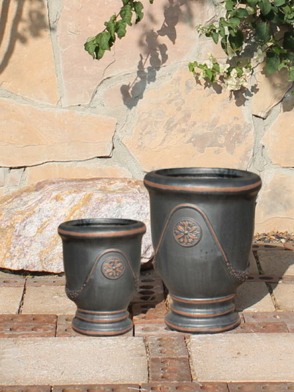 Small French Urns, Gunmetal Ceramic