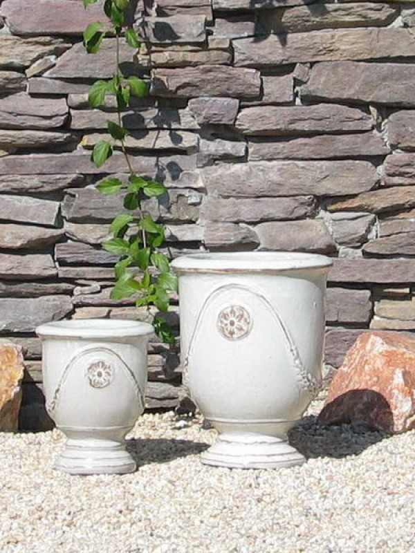 Small French Urns, White Ceramic