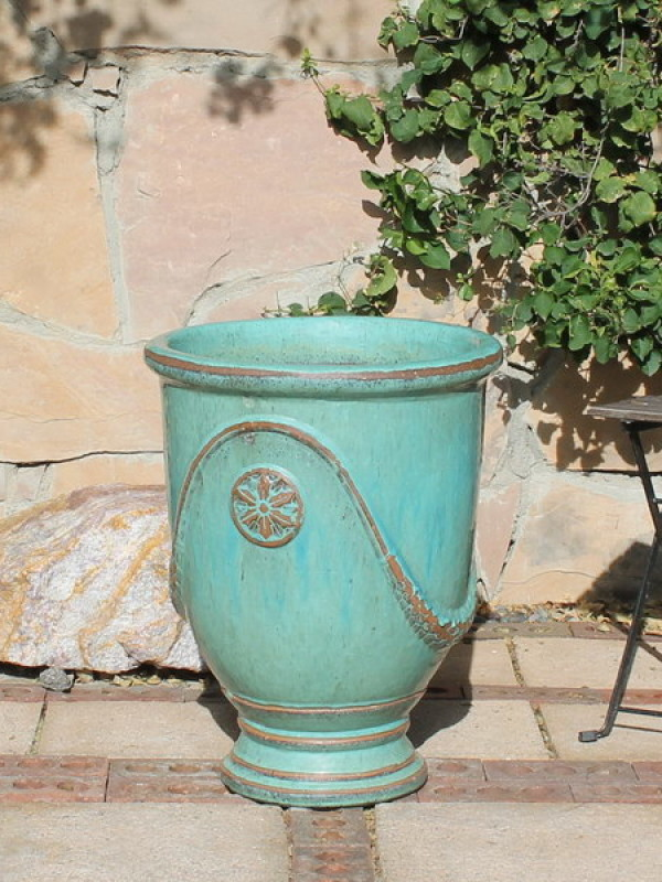 Large Aqua French Urn Ceramic