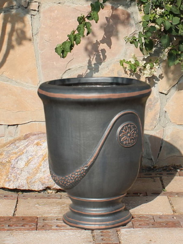 Large Gunmetal French Urn Ceramic
