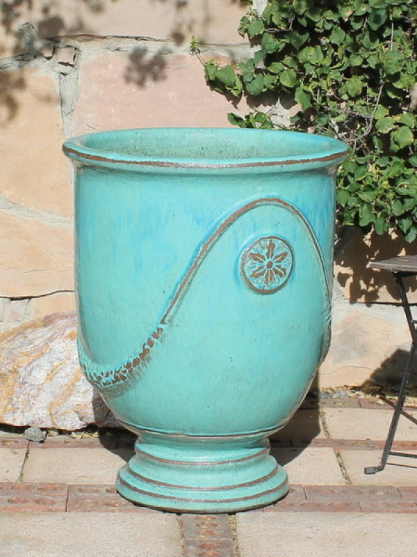 Extra Large French Urn Aqua Ceramic