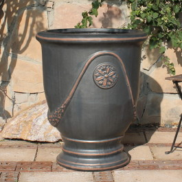 Extra Large French Urn Gunmetal Ceramic