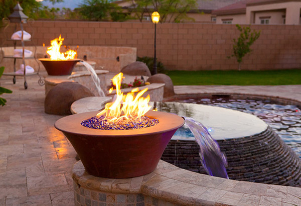 Pool Fire Bowl with Scuppers