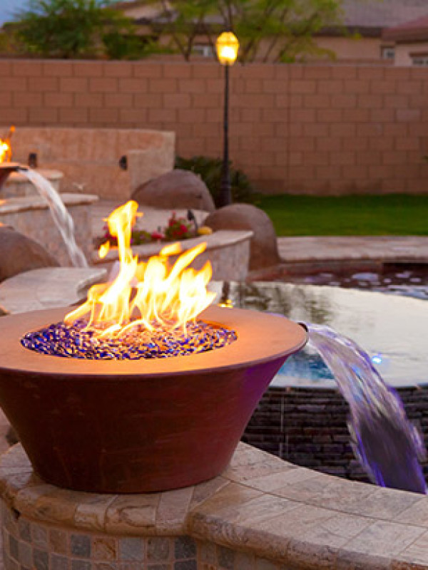 Fire Bowl - Pool Fire Bowl with Scuppers