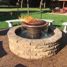 Fire Bowl - Round Copper w/ Founain