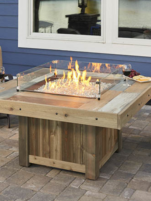 Fire Table - Brown w/ Glass Guard