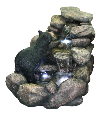 River Fountain with Bear