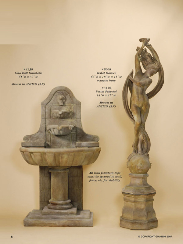Lido Wall Fountain, Vestal Dancer, Vestal Pedestal