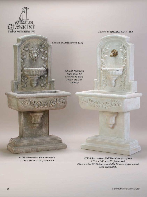 Sorentine Wall Fountain, Sorentine Wall Fountain for spout