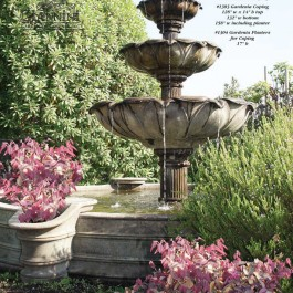 Acquarossa Three Tier Fountain for Pond, Gardenia Coping, Gardeinia Planters for Coping