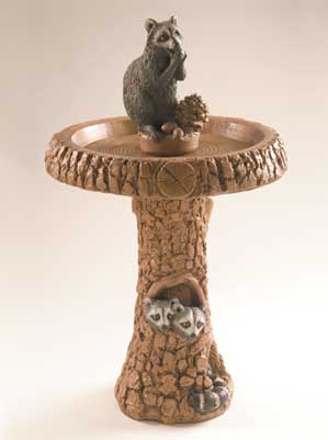 Raccoon Birdbath