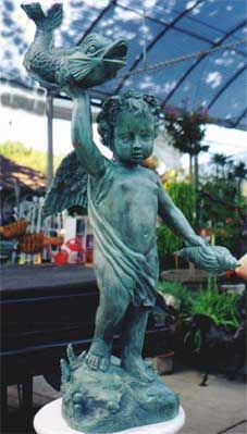Cherub Holding Shell Fountain