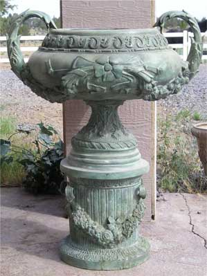 Flowered Urn with Handles on Column Stand