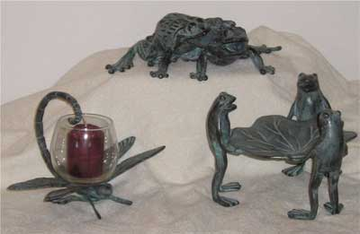 Twin Frogs, Three Frogs with Leaf, Dragonfly Candle Cup