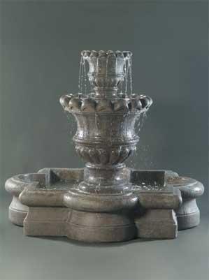 Scallop Urn Fountain with Quatrofoil Basin