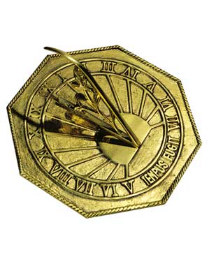 Classic Octagon Polished Brass Sundial
