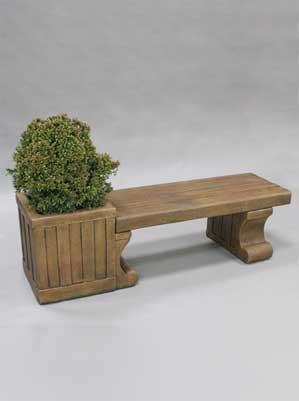 Contemporary Planter Bench, Long