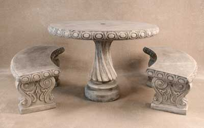 Table with Curved Benches