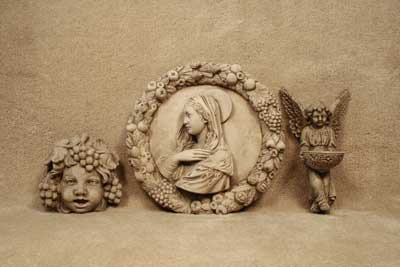 Grape Cherub Plaque, Madonna Wreath, Angel Bird Feeder