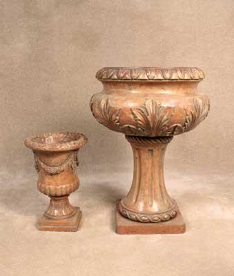 Small Garland Vase and Leaf Pedestal Urn
