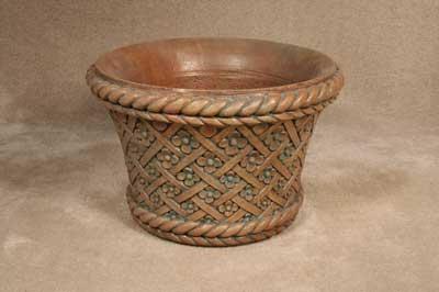 Floral Basketweave Pot