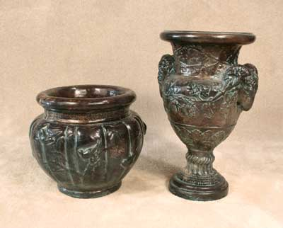 Birds of Paradise Pot, Angel and Ram Urn