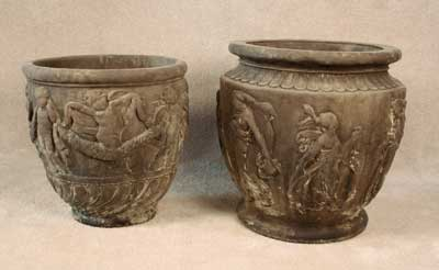 Round Cherub and Large Roman Pots