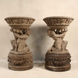 Cherub Girl and Boy Planters with Pedestal