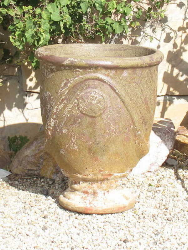 Large Antiqued French Urn Ceramic