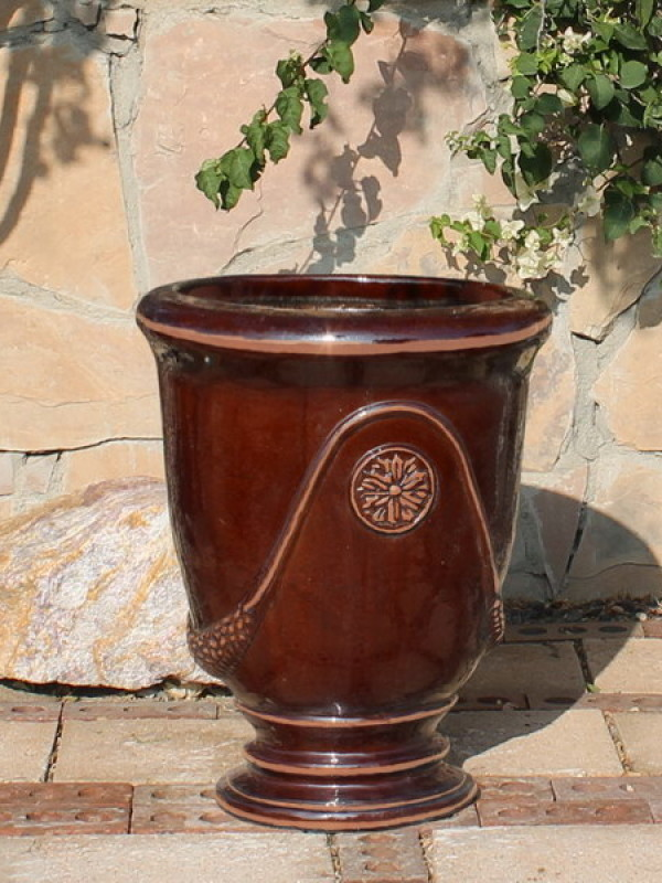 Large Dark Brown French Urn Ceramic