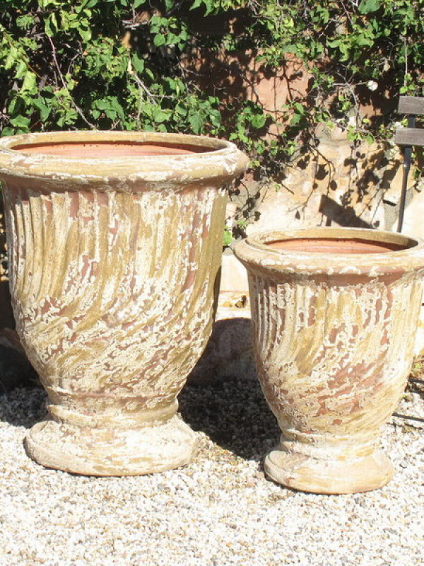 French Urns Antiqued w/ Swirl Ceramic