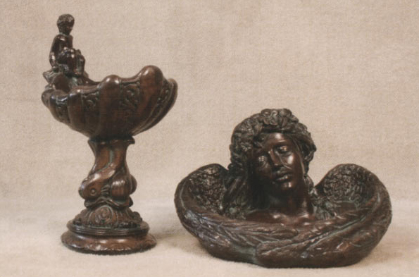 Small Cherub Birdbath and Resting Angel Birdbath
