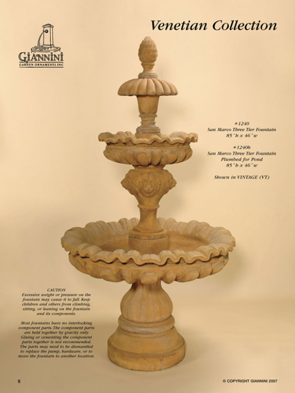 San Marco Three Tier Fountain, San Marco Three Tier Fountain Plumbed for Pond