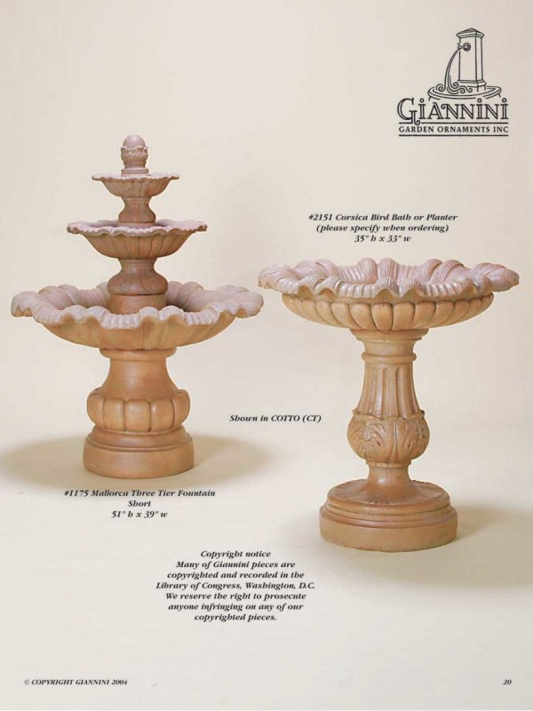 Mallorca Three Tier Fountain Short, Corsica Bird Bath or Planter