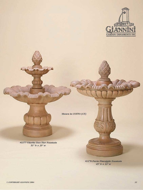 Viterbo Two Tier Fountain, Pavia PIneapple Fountain