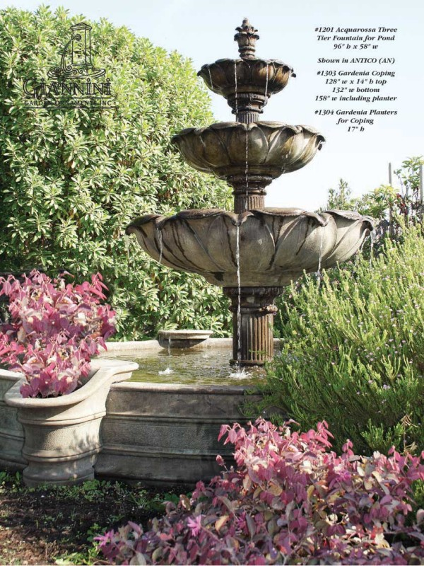 Acquarossa Three Tier Fountain for Pond, Gardenia Coping, Gardeinia Planters for Coping
