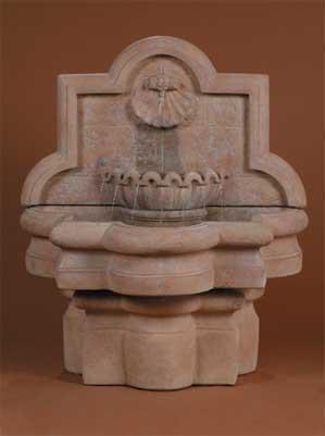 Shell Quatrefoil Wall Fountain, Small