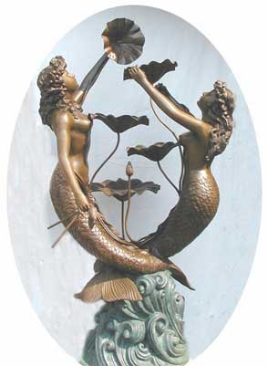 Two Mermaids with Lotus Leaves