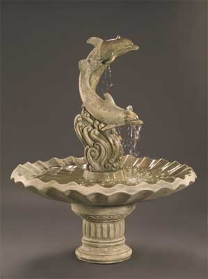Dolphins with Shell Bowl Fountain