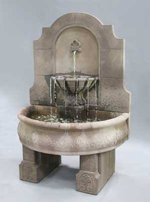 Provincial Wall Fountain with Pedestals