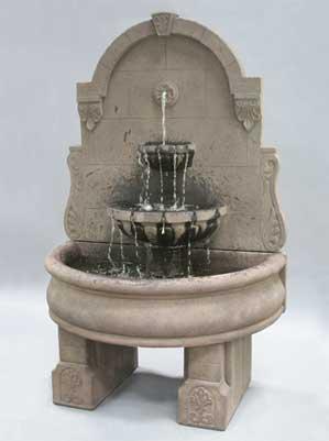 Bavarian Wall Fountain with Plain Basin and Pedestals