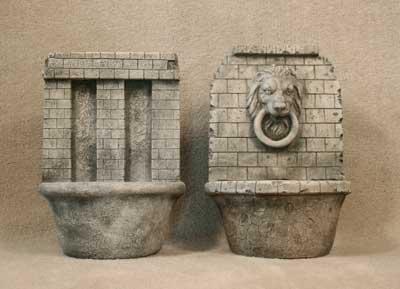 Brick Wall and Brick Lion Wall Fountains