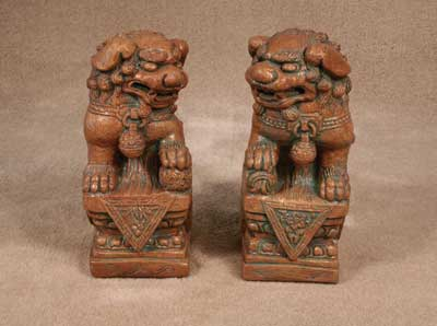 Foo Dogs on Pedestals
