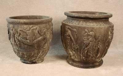 Round Cherub and Large Roman Pots
